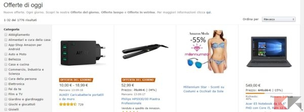 Pagine promozionali Amazon