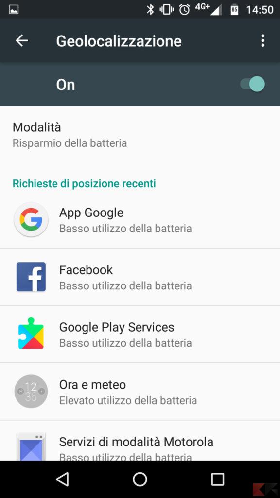 Disattivare geolocalizzazione su Android