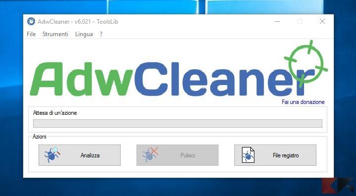 Come cancellare toolbar e adware con AdwCleaner