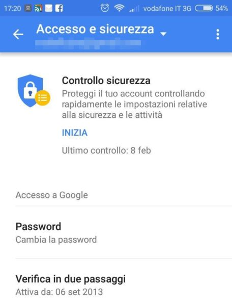 Impostazioni Google
