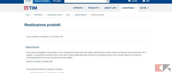 restituzione prodotti - disdetta Telecom (TIM)