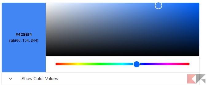Come ottenere codici colori HTML, RGB ed altri da Google