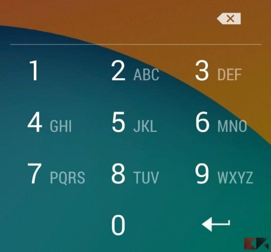 blocco schermo Android - PIN