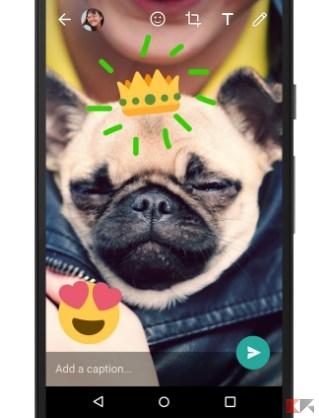 WhatsApp: emoji e disegni a foto e video