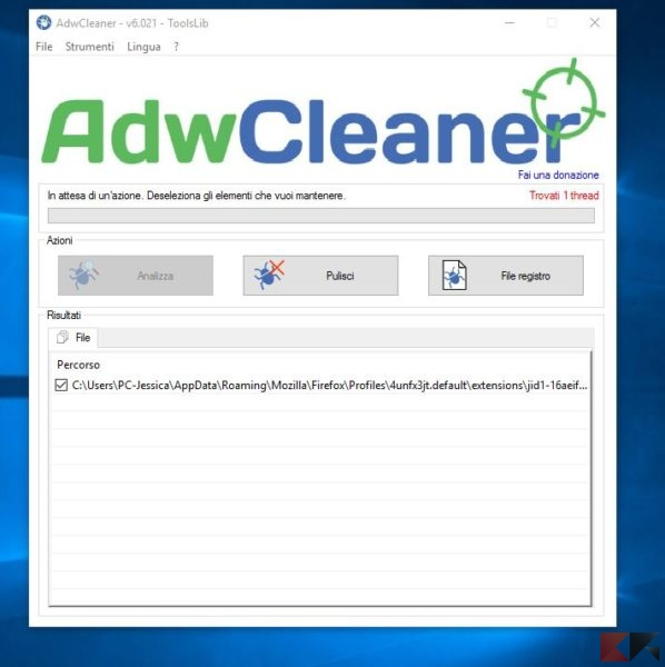 cancellare toolbar - adwcleaner