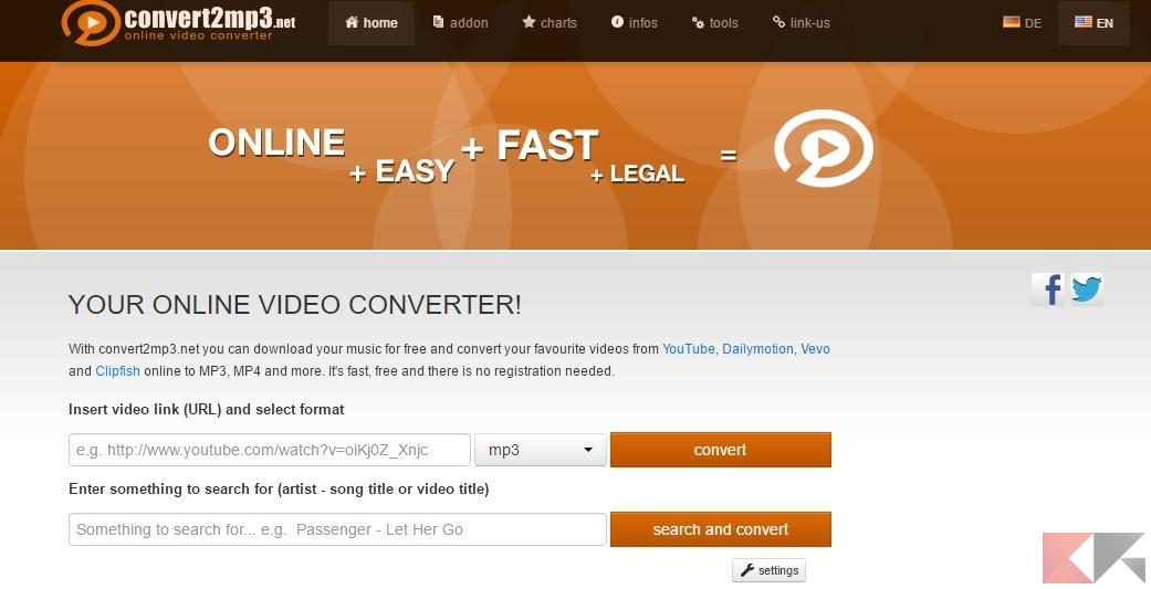Convert2mp3: scaricare video e audio da Youtube
