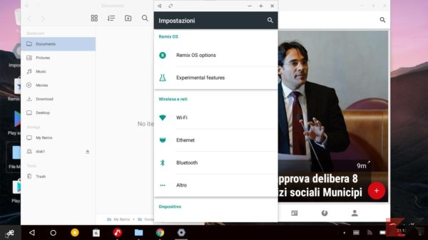 settings-remix OS- Installare android
