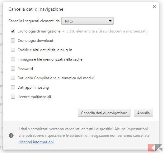 Cancellare cache browser
