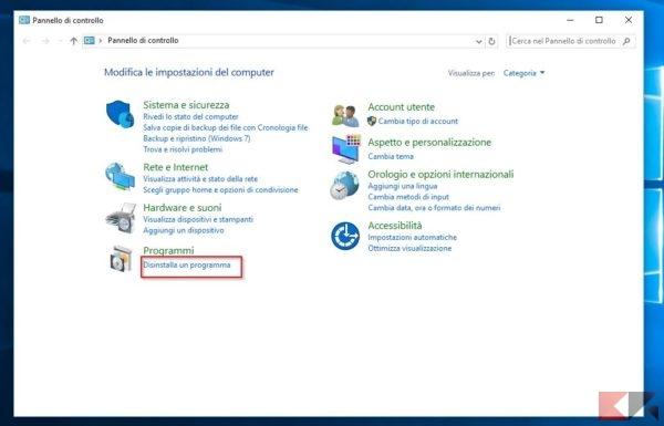 disinstallare programmi in windows