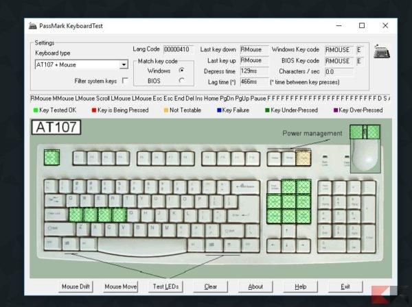 Scoprire tasti difettosi della tastiera
