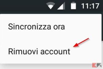 Rimuovi account