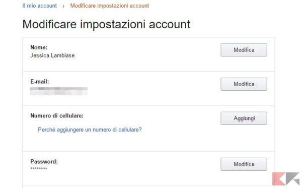 Come rendere sicuro l'account Amazon