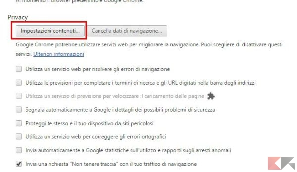 disabilitare blocco popup