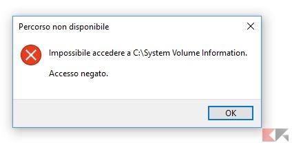 System volume information - Accesso negato