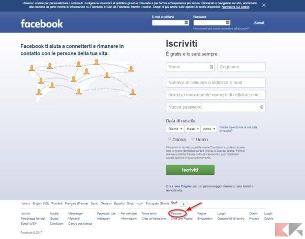 Facebook persone