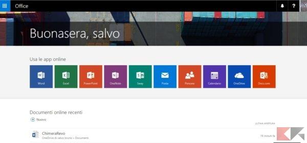 Guida ad Office Online- Prima schermata