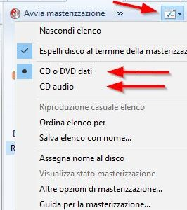 Masterizzare CD o DVD con Windows Media Player