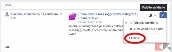 Facebook eliminare post