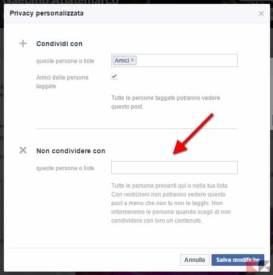 Facebook non condividere con