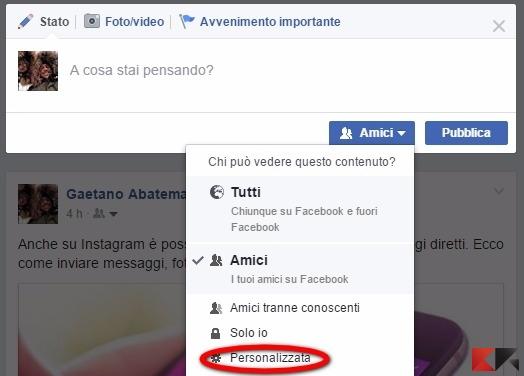Facebook privacy personalizzata