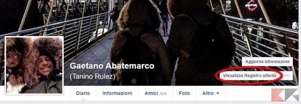 Facebook visualizza registro attività