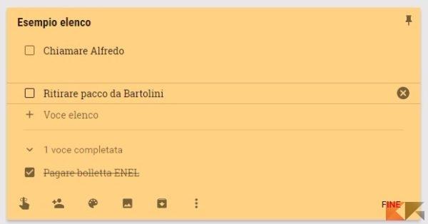 Google Keep elenco