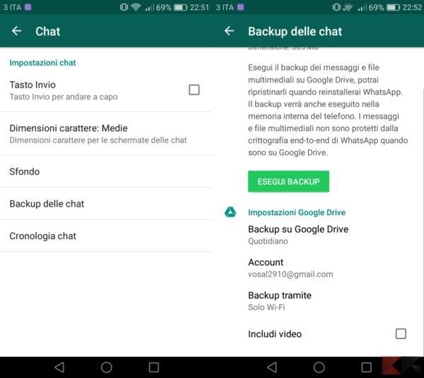 recuperare conversazioni perdute WhatsApp- backup delle chat