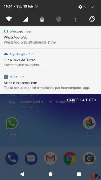 WhatsApp Web attivo - notifica