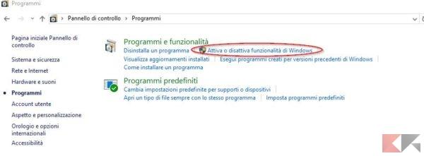 attiva o disattiva funzionalità di windows