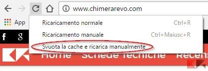 cancellare cache Chrome