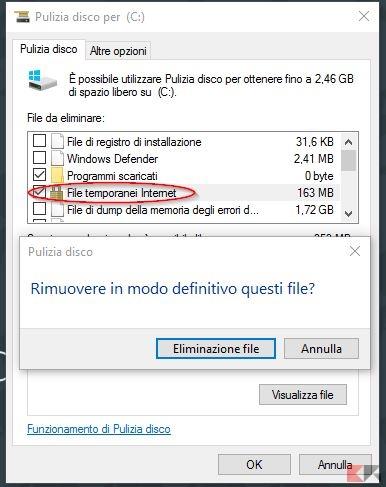 eliminare file temporanei internet windows