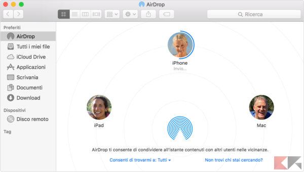 inviare file AirDrop