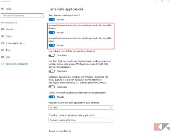 nascondere barra applicazioni windows 10.