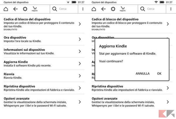 aggiornare Kindle Amazon