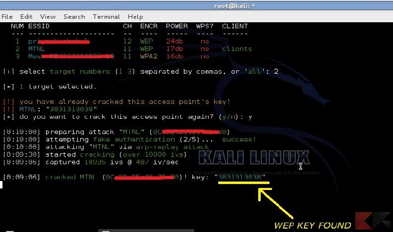 Craccare reti WiFi: Wifite trova le chiavi Wep in 10 minuti!