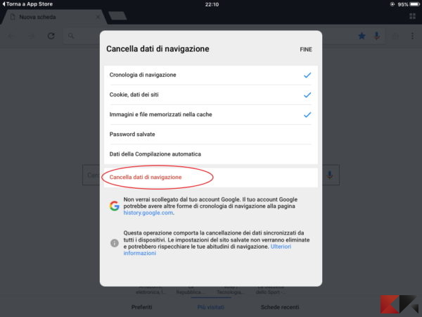 cancellare la cronologia Google Chrome su iPad