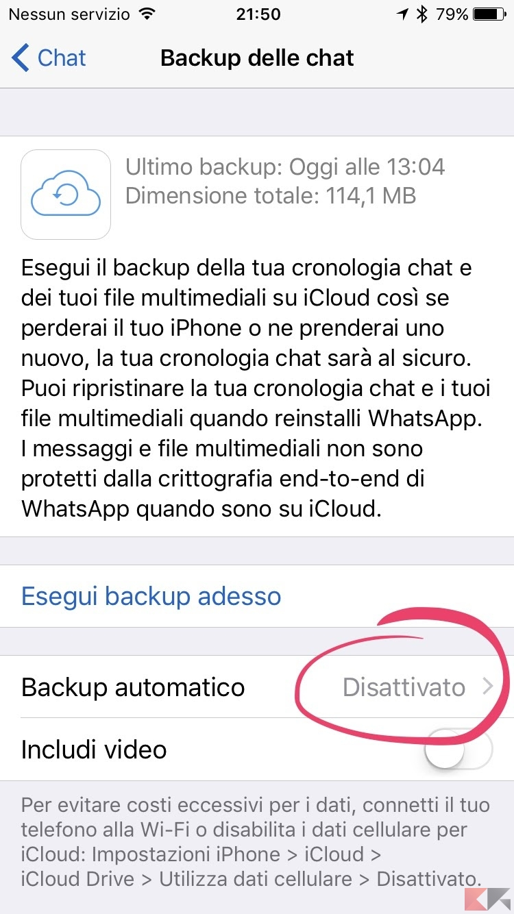 eliminare backup icloud