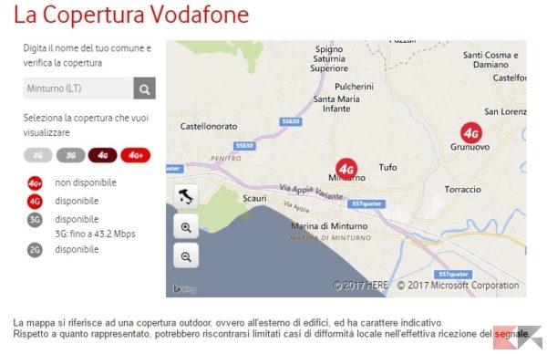 Copertura Vodafone 4G