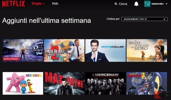 Netflix - aggiunti nell'ultima settimana