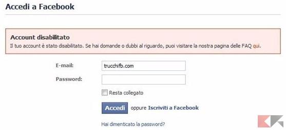 account disabilitato facebook