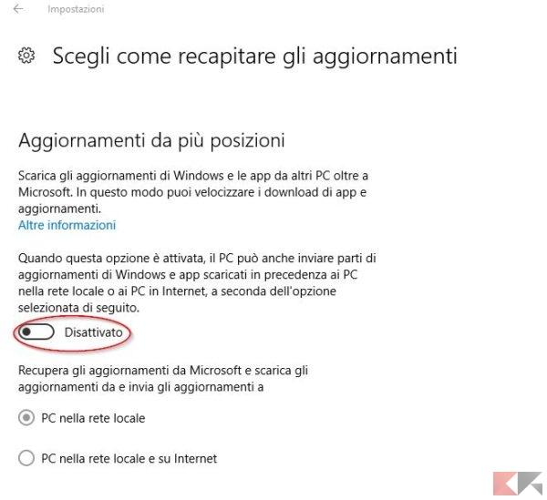 bloccare aggiornamenti P2P Windows