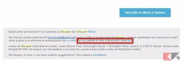 cancellarsi dalla newsletter Groupon