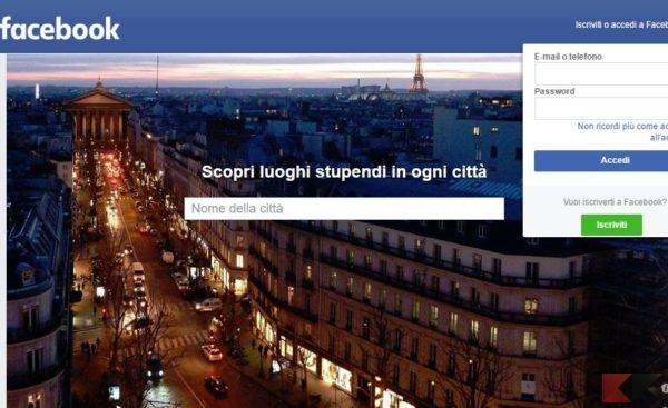 cercare luoghi Facebook accesso visitatore