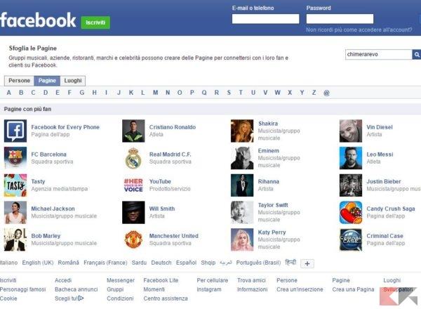 Accedere a Facebook senza iscriversi