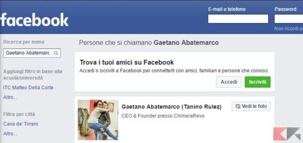 facebook accedi come visitatore