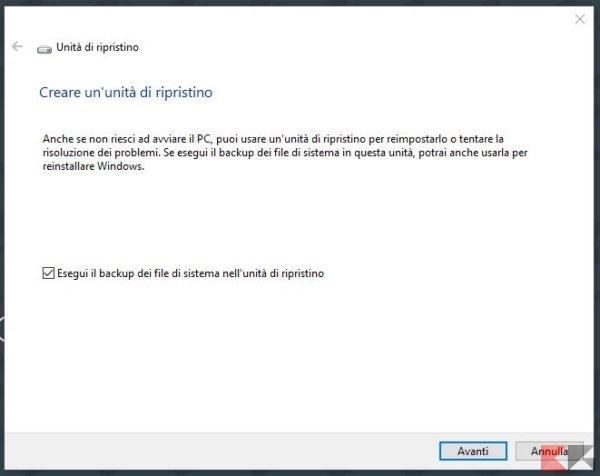 creare unità di ripristino windows 10