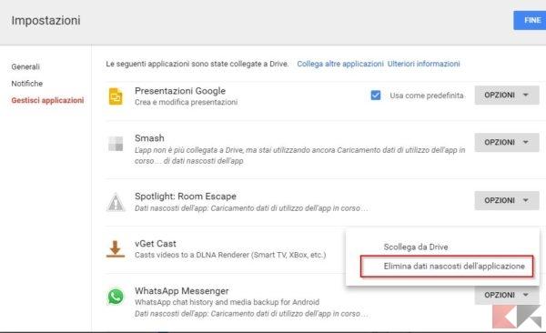 Eliminare backup WhatsApp da Google Drive
