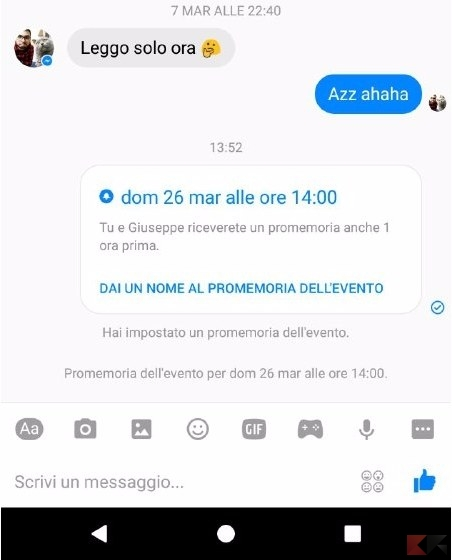 impostare promemoria in Facebook Messenger