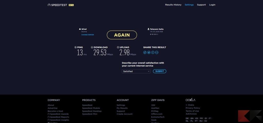 misurare velocità internet