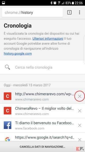 cancellare la cronologia Google Chrome